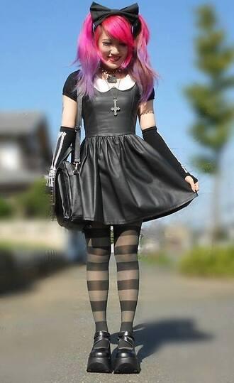 dress black dress leather pastel goth