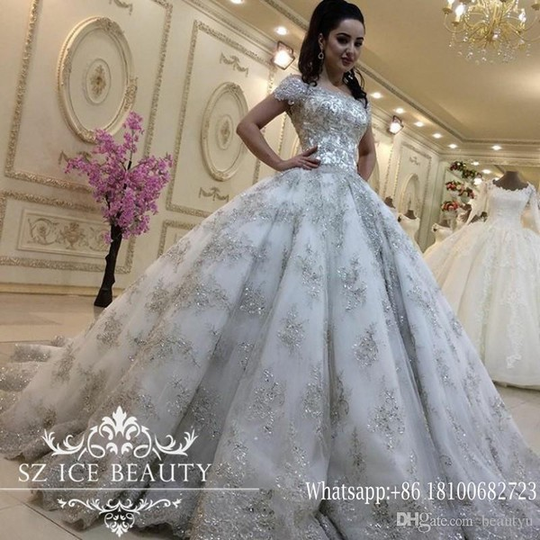 Luxurious Bling Lace Wedding Dresses Plus Size Princess Ball Gowns ...