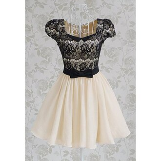 dress black lace cream girly bow