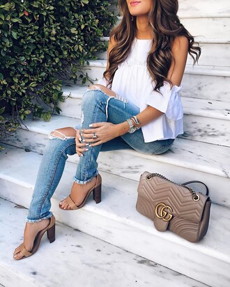 jewels tumblr watch silver watch bracelets silver bracelet jewelry silver jewelry bag grey bag jeans denim blue jeans ripped jeans top white top cut out shoulder sandal heels sandals high heel sandals spring outfits ring silver ring