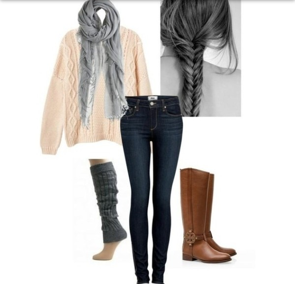 sweater scarf jeans boots knitted socks fishtail fall outfits fall outfits winter outfits shoes shorts comfy comfy skinny jeans boot socks brown boots grey scarf oversized sweater girly indie cute leg warmers brown leather boots pink sweater socks outfit shirt infinity scarf