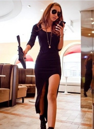 Irregular cut long sleeve dress