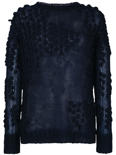 jumper women mohair blue silk knit sweater