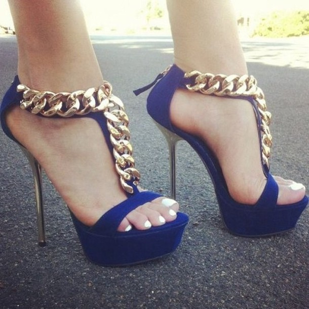Shoes: open toe heels, fashion shoes, blue high heels, gold chain ...