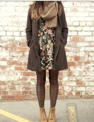 dress clothes coat jacket long jacket brown fall outfits pea coat knit knitted scarf tan floral black dress black floral dress tights tan boots ankle boots boots scarf shoes floral dress wool coat patterned dress