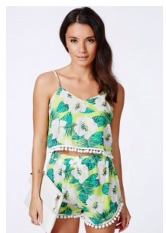 shorts co ord two-piece miss guided top tropical pom poms summer festival blouse bag