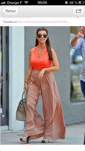 pants,kardashians,kourtney kardashian,orange