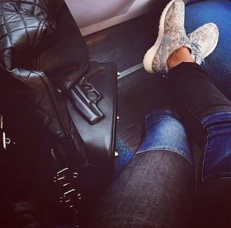 jeans gun nike sneakers shoes travel bag nike roshe run perfect perfecto pants vlieger&vandam