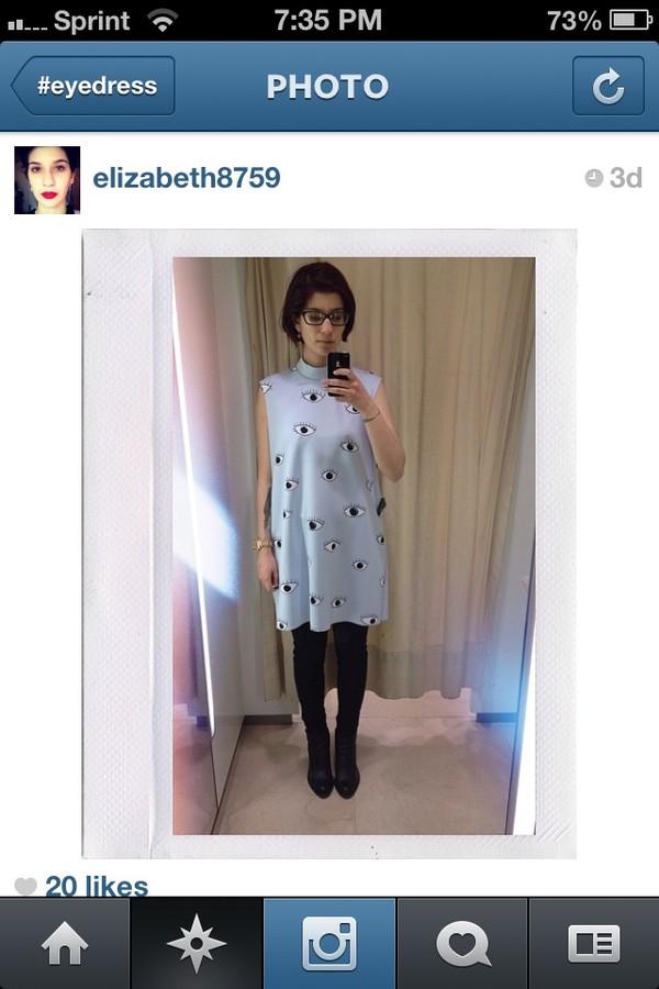 dress baby blue zara zara dress eye print eye cartoon eyes pastel pastel dress pastel blue dress shift dress t-shirt dress