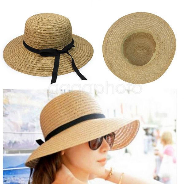 Summer Hats For Women Part - 33: Fashion Women Summer Straw Beach Hat Wide Large Brim Belt Ribbon Sun Cap  Coffee   EBay
