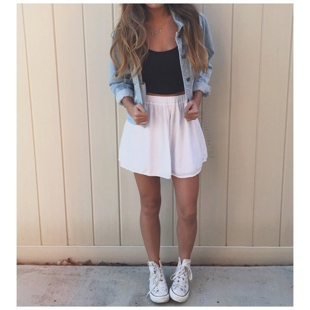 skirt white skirt white sneakers black top jacket top cute top pink skirt skater skirt summer black crop top denim jacket