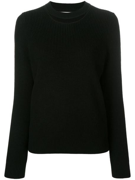jumper cut-out women black sweater