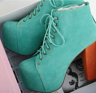 shoes mint high heeled boots platform lace up boots