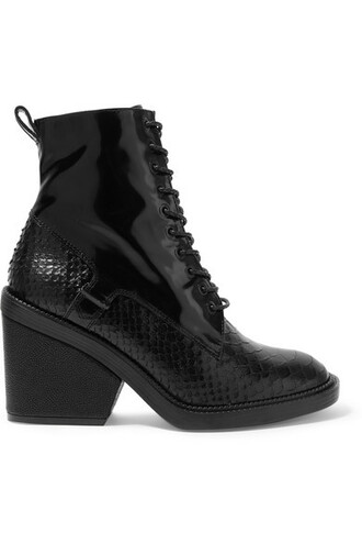 leather ankle boots snake boots ankle boots leather black shoes