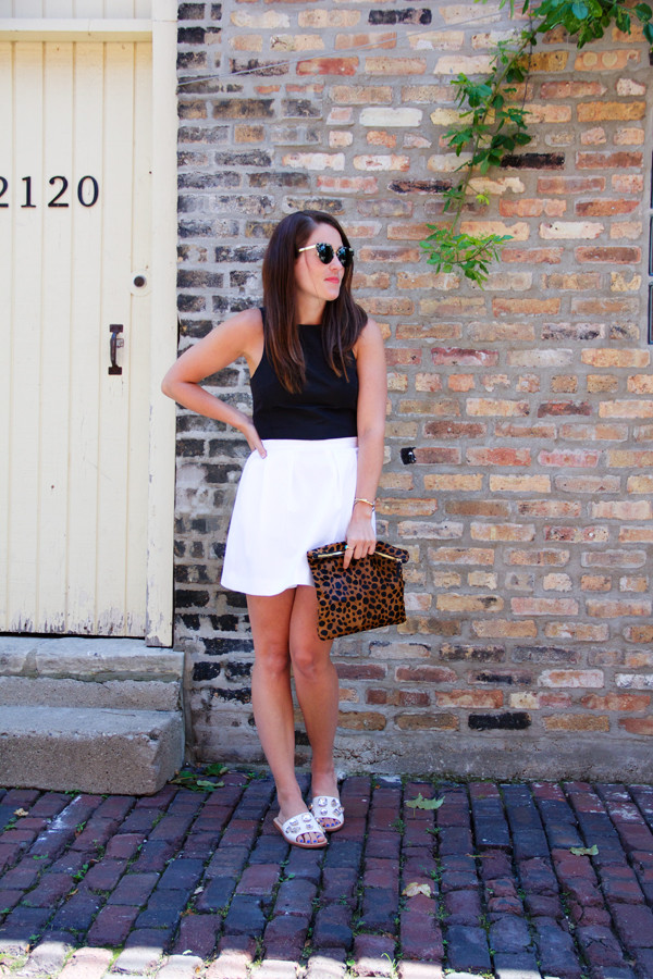 sequins and stripes top skirt sunglasses shoes bag make-up jewels