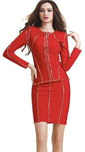dress,dream it wear it,clothes,red,red dress,studde,studded,studded dress,jack,jacket,skirt,long sleeves,long sleeve dress,two piece dress set,party,party dress,sexy,sexy dress,party outfits,fall outfits,fall dress,winter outfits,winter dress,spring,spring dress,spring outfits,classy,classy dress,elegant,elegant dress,cocktail,cocktail dress,girly,date outfit
