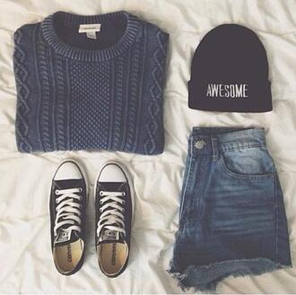 sweater hat cap shorts converse