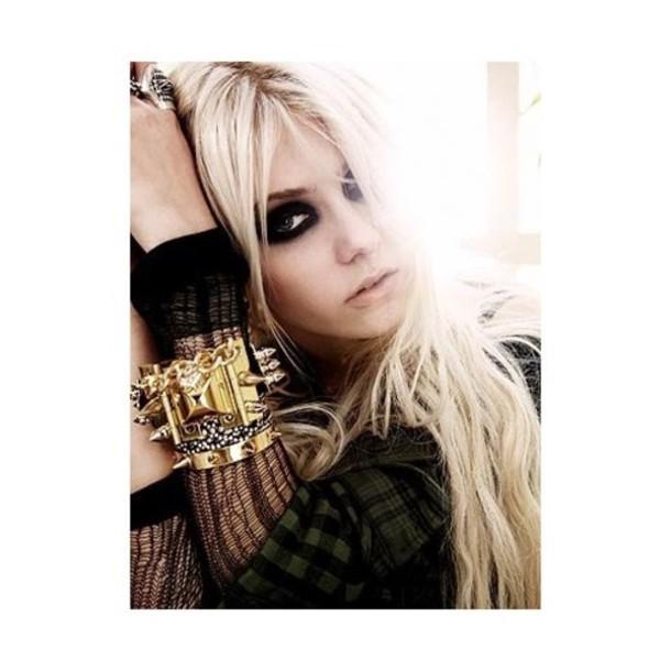 taylor momsen gossip girl blouse jewels jewelry gold bracelets stacked bracelets gold bracelet spikes spiked bracelet