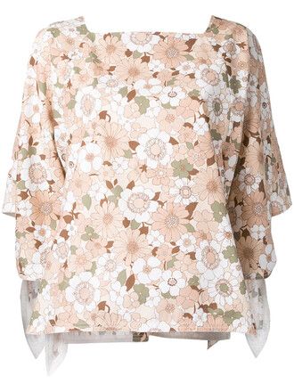 shirt women floral nude cotton print top