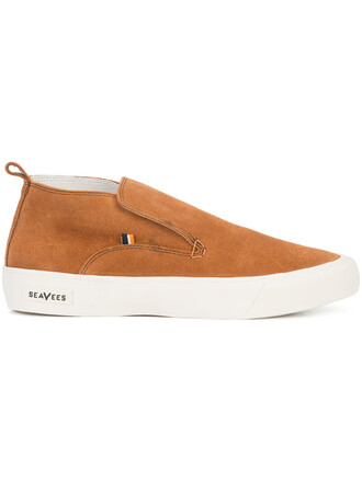 women sneakers leather suede brown shoes