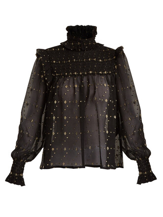 blouse gold black top