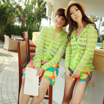 Fashion Summer Beach Couple Man Women's Long Sleeve Sun-protective Shirt Stripe Transparent Coats 3 Colors
