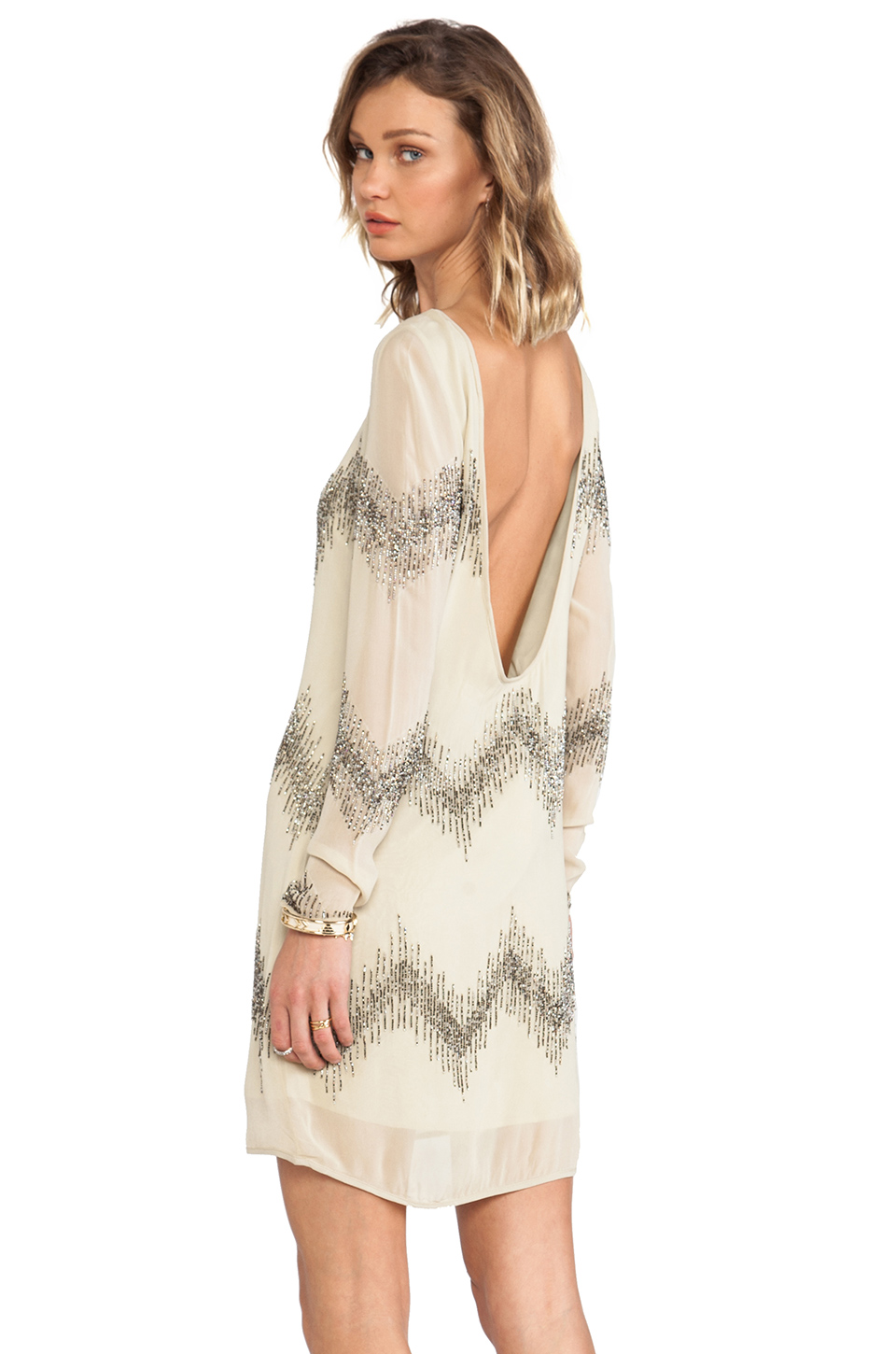 Mlv alexa long sleeve beaded dress in olive