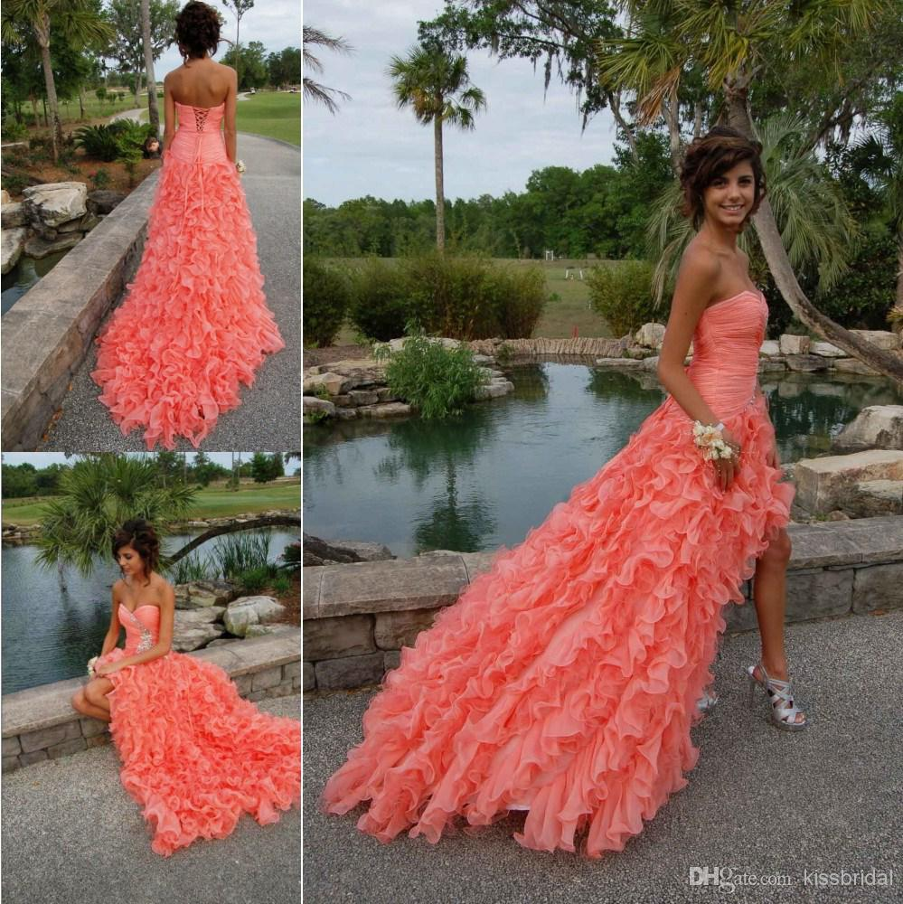 Cheap 2014 Prom Dresses - Discount Stunning 2014 Coral Prom Dresses Crystal Beaded Sweetheart Online with $139.19/Piece | DHgate