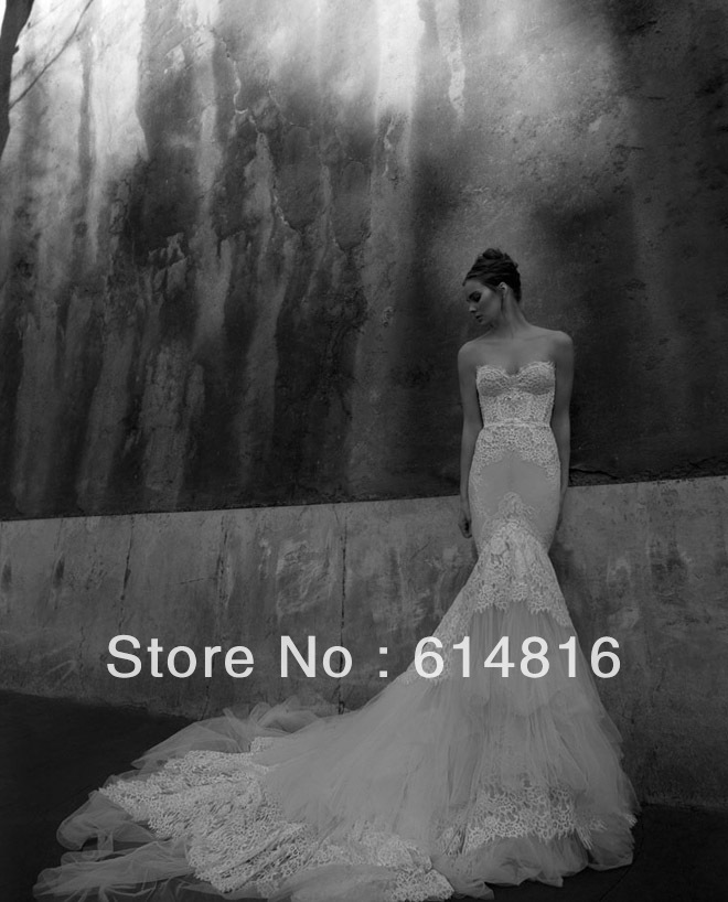 Custom Made Lace Mermaid Wedding Dresses 2013 Sweetheart Open Back Cathedral Train Tulle Bridal Gowns ID1202-in Wedding Dresses from Apparel & Accessories on Aliexpress.com | Alibaba Group