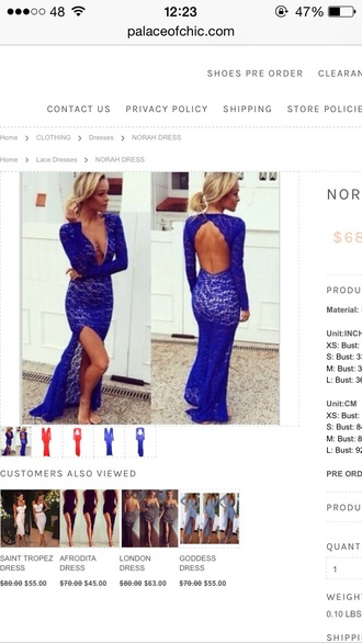 dress prom dress blue lace dress