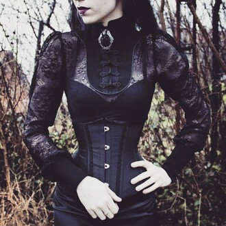 blouse goth gothic lolita black choker black dress corset
