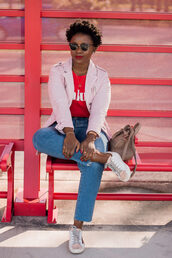 bag,pinksole,blogger,sunglasses,jewels,jacket,t-shirt,jeans,shoes,sneakers,pink jacket,red t-shirt
