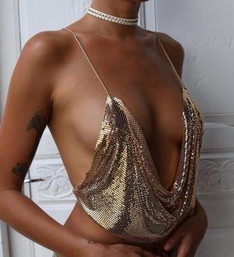 top glitter gold sexy top low cut crop tops shirt