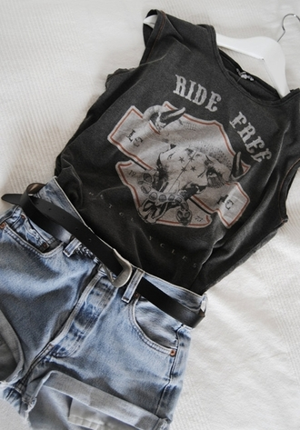 shirt tumblr t-shirt grunge grey shorts levi shorts cool fashion coolture funny band t-shirt i love you belt black jeans summer casual back to school everyday rock tank top same top