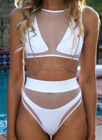 swimwear bikini bikini top bikini bottoms summer white bikini mesh white mesh white mesh bikini celeb celebrity celebrity style tumblr instagram spring swimwear two piece