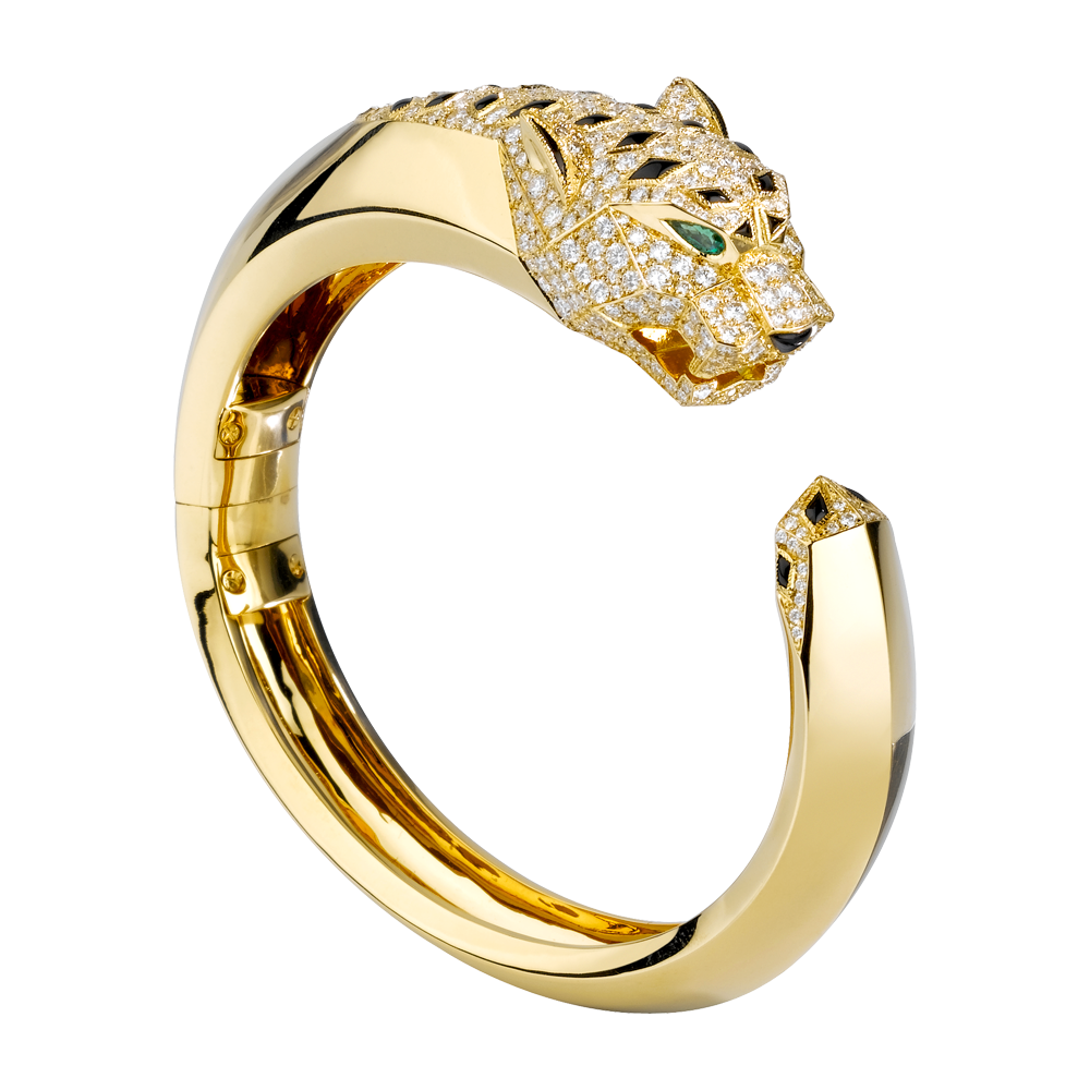 Panthère bracelet - 18kt Yellow Gold, Diamonds, Onyx, Emeralds - Fine Bracelets for women -  Cartier