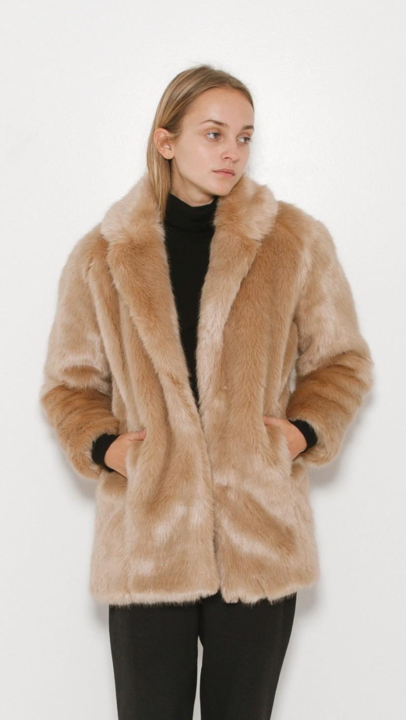 Remix Faux Fur Coat in Camel 509 | The Dreslyn