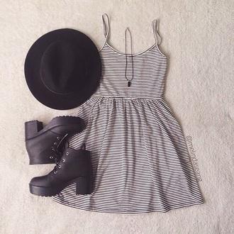 dress summer dress striped dress hat shoes
