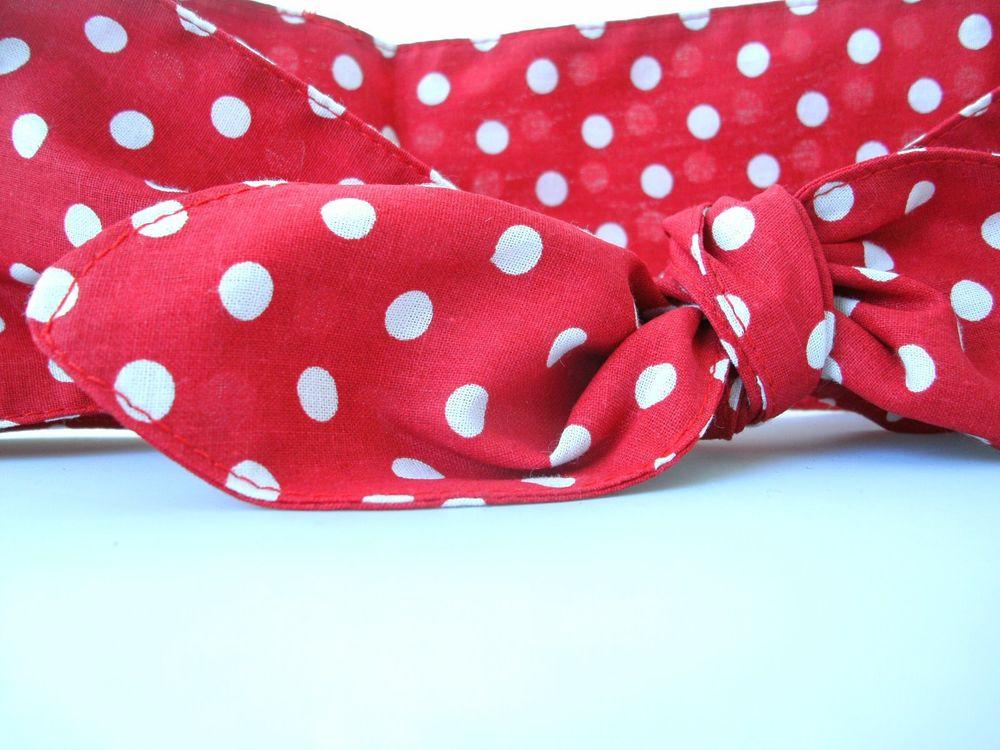 Rosie the riveter costume handmade 100% cotton red polka dot headband