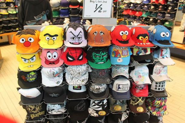 hat bert ernie sesame street cap snapback cookie monster elmo spongebob patrick star spiderman