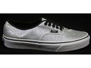 WOMENS VANS AUTHENTIC V GLITTER SILVER CASUAL FASHION PLIMSOLLS TRAINERS SIZE 6