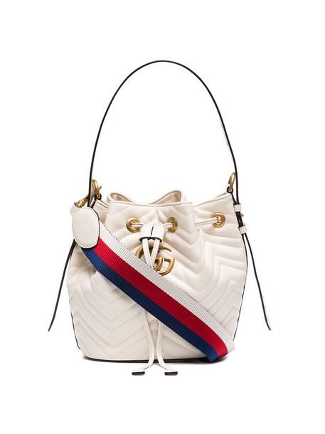 gucci mini women bag bucket bag leather white
