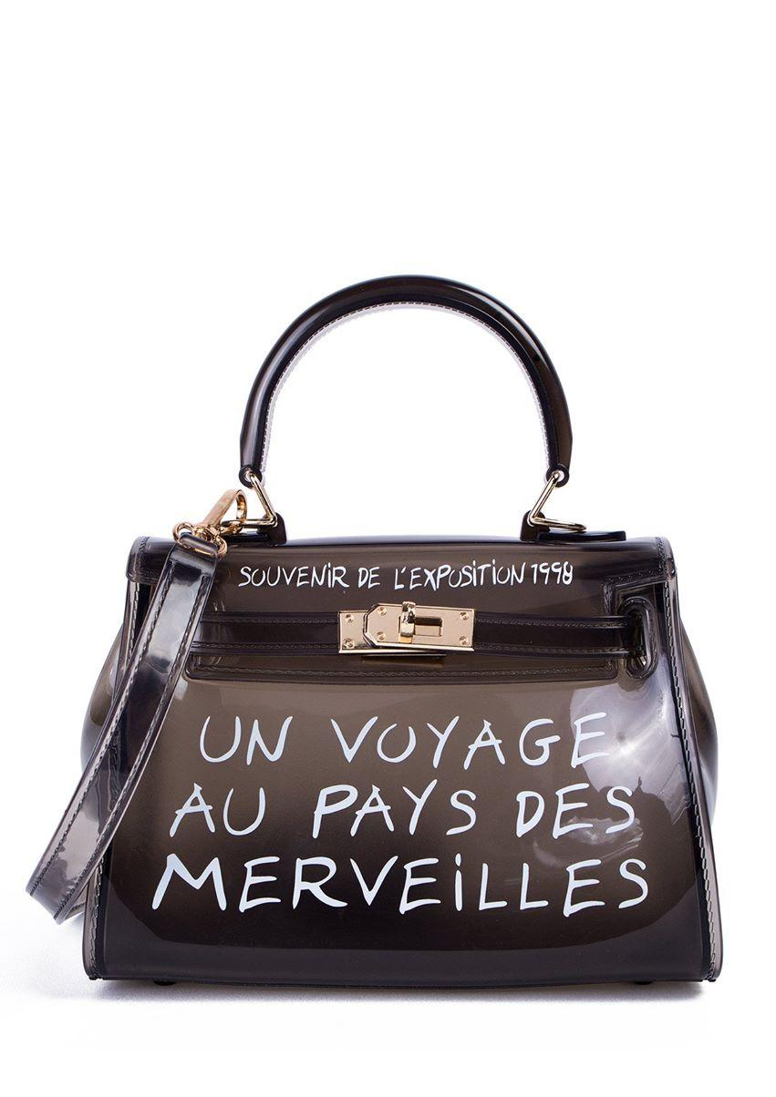 Amber Black Perspex Graffiti Mini Bag