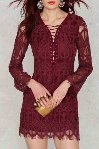 dress lace burgundy elegant classy criss cross fashion style party strappy zaful