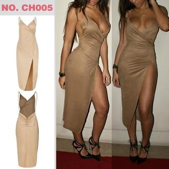 dress suede slit dress taupe nude slit maxi skirt maxi dress mocha
