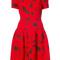 Oscar de la renta - cherry print drop waist dress - women - nylon/virgin wool - 6, red, nylon/virgin wool