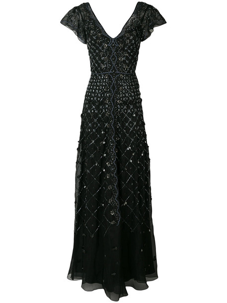 Temperley London gown women spandex embellished black silk dress