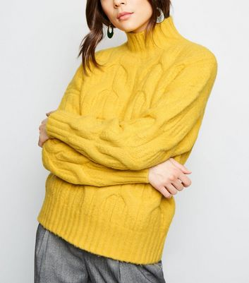 Yellow Funnel Neck Cable Knit Jumper | New Look