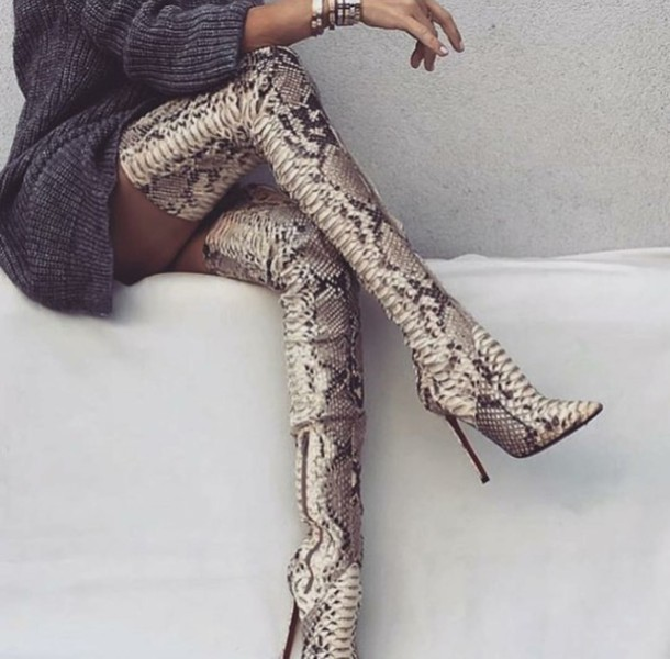 736cf1c498eb shoes boots over the knee boots snake skin snake print sweater sweater  dress sweater dress grey