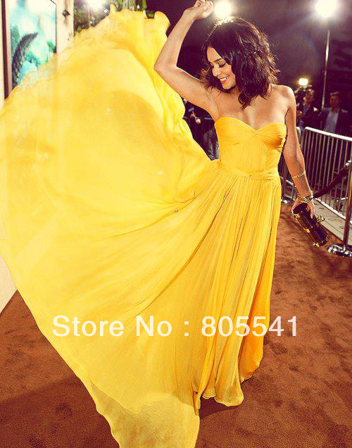 2014 New Arrival Fashion vestidos de fiesta Evening Gown A line Sweetheart Yellow Chiffon Hot Floor Length Long Evening Dress-in Evening Dresses from Apparel & Accessories on Aliexpress.com